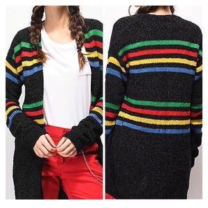 Trillium Multi-strip Colorblock Black Cardigan